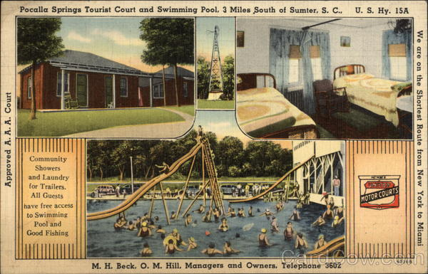 Pocalla Springs Tourist Court and Swimming Pool Sumter South Carolina