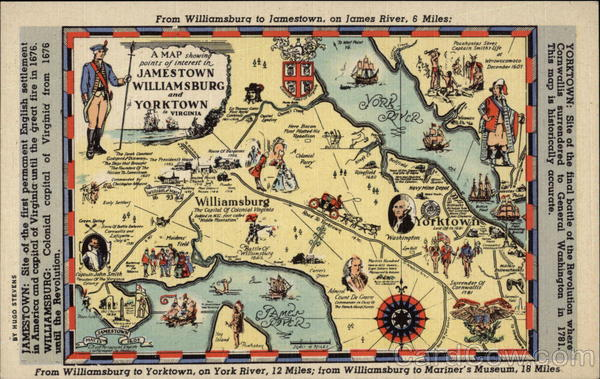 Map Of Jamestown Williamsburg And Yorktown VA Maps
