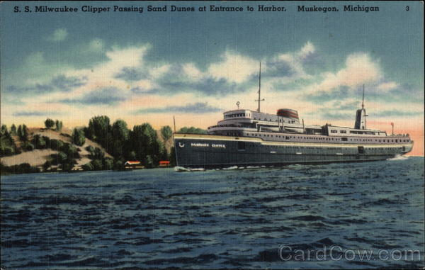 S. S. Milwaukee Clipper Passing Sand Dunes at Entrance to Harbor Muskegon Michigan