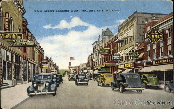 Front Street Looking West Traverse City Michigan