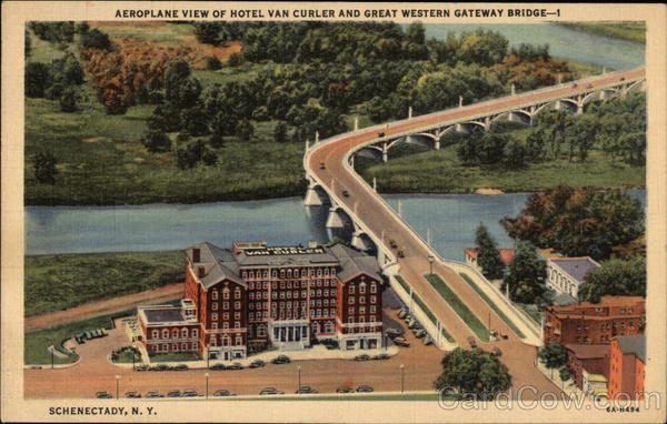 Aeroplane View of Hotel Van Curler & Great Western Gateway Bridge Schenectady New York