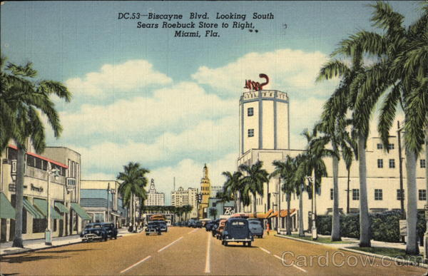 Biscayne Blvd. Looking South - Sears Roebuck Store to Right Miami Florida