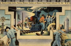 Mural of Jesse James, Famous Outlaw, at Missouri State Capitol Postcard