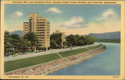 Kanawha Blvd & Kanawha River, showing United Carbon Building & Riverview Apartments