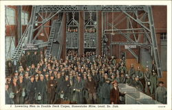 Lowering Men in Double Deck Cages at the Homestake Mine