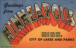 Greetings from Minneapolis, Minnesota - City of Lakes and Parks Postcard