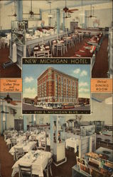 New Michigan Hotel and Harry Block's Restaurant Postcard