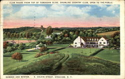 Club House from Top of Toboggan Slide, Drumlins Country Club - Open to the Public Postcard