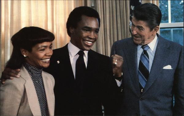 Sugar Ray Leonard and Wife With President Reagan Washington District of Columbia