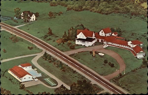 Aerial View of Lakeview Motel Jemseg Canada New Brunswick