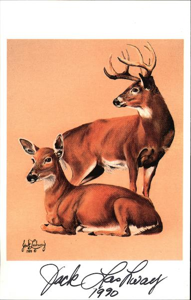 Whitetail Buck and Doe by Jack Lashway, 1990 Art
