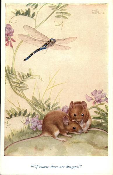 Two Mice and a Dragonfly in Watercolor Drawing Artist Signed