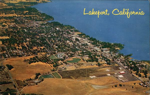 Aerial View of Town and Shoreline Lakeport California