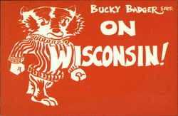 Bucky Badger says: On Wisconsin! Postcard
