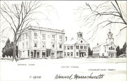 Harvard Common, C. 1900, Showing the Old Center School