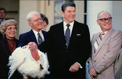 Ronald Regan Being Presented with a Thanksgiving Turkey