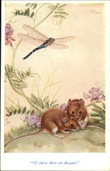 Two Mice and a Dragonfly in Watercolor Drawing