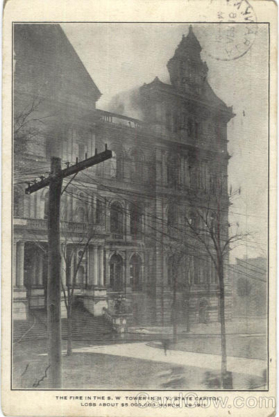 The Fire In The S. W. Tower State Capitol Albany New York