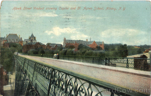 Hawk Street Viaduct Showing Capitol And St. Agnes School Albany New York