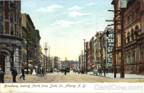 Broadway Looking North From State St Albany New York