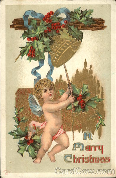 A Merry christmas, With Cherub Tolling a Bell Angels