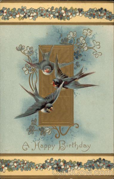A Happy Birthday, With Birds and Flowers
