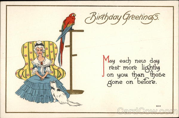 Birthday Greetings, With Lady, Cat, and Parrot