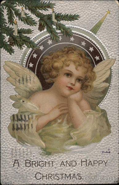 A Bright and Happy Christmas Ellen Clapsaddle Angels
