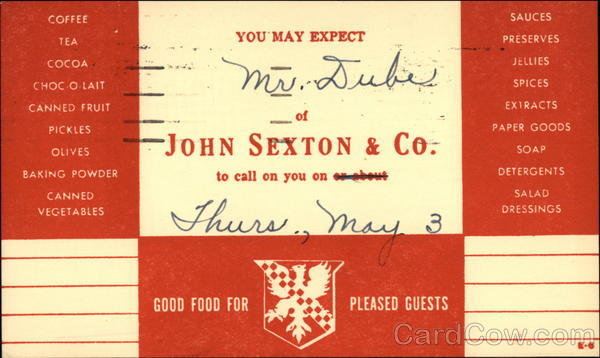 John Sexton & Co. Calling Card Advertising