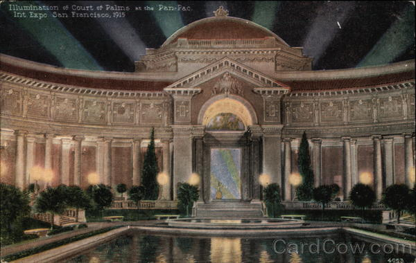 Illumination at Court of Palms 1915 Panama-Pacific Exposition