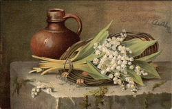 Still Life of Lilies of the Valley and Brown Jug
