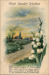 Best Easter Wishes, With Church and Lily of the Valley