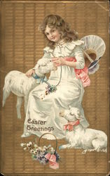 Easter Greetings - Young Girl with Lambs