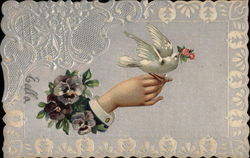 Pansy's, Hand and Dove Postcard