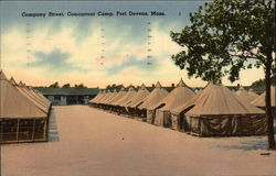 Company Street, Concurrent Camp, Fort Devens, Mass Postcard