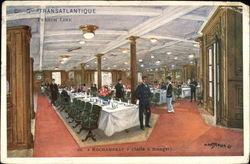 Dining Room Aboard the Rochambeau of the Transatlantique French Line