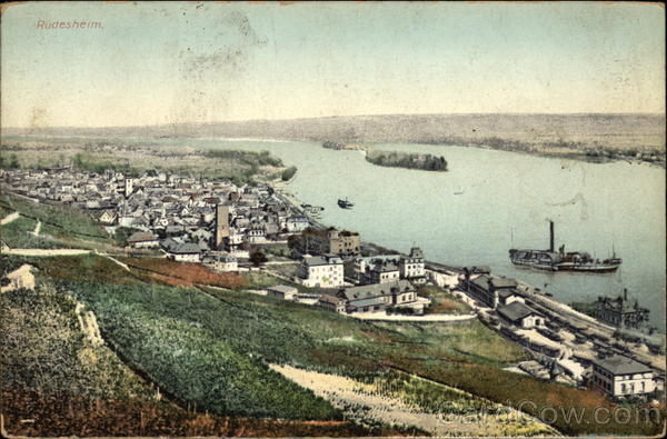 View of Town and River Rhine Rudesheim Germany