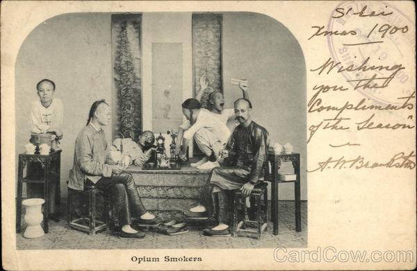 Opium Smokers, 1900 Shanghai China Asian