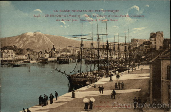 Quai de Caligny et Port de Commerce Cherbourg France