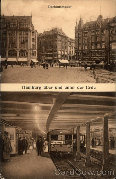 Rathausmarket and Subway Hamburg Germany