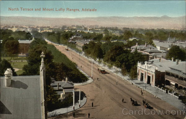 North Terrace and Mount Lofty Ranges Adelaide Australia
