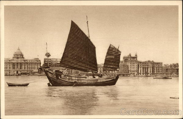 Chinese junk. Whangpoo River Shanghai China