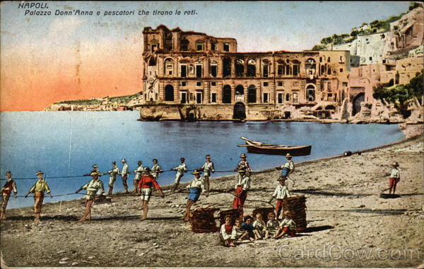 Palazzo Donn'Anna and Fishermen on the beach Naples Italy