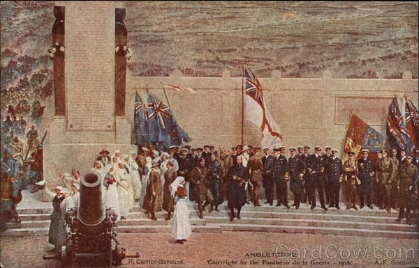 British Nurses and Soldiers at a War Memorial United Kingdom