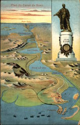 Plan of the Suez Canal and Statue of Ferdinand De Lesseps