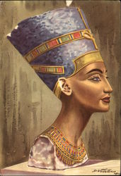 Painted limestone bust of Queen Nefertiti, wife of Echnaton, 18th Dynasty