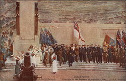 British Nurses and Soldiers at a War Memorial