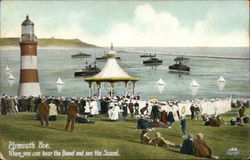 Bandstand and Lighthouse - Plymouth Hoe Postcard
