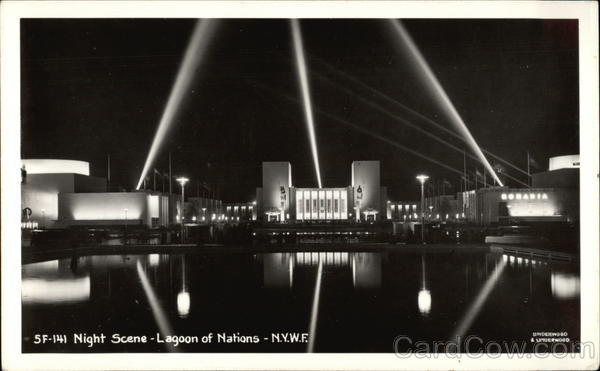 Lagoon of Nations - Night Scene 1939 NY World's Fair