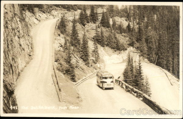 Bus Going Up Switchback Yoho National Park Canada British Columbia